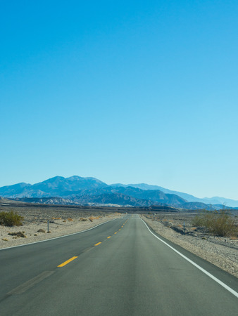 near death: Route 190 near Death Valley National Park Visitors center Stock Photo