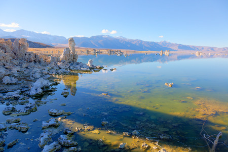 Wonderful limestone tufa towers in Mono Lake South Tufa area photo