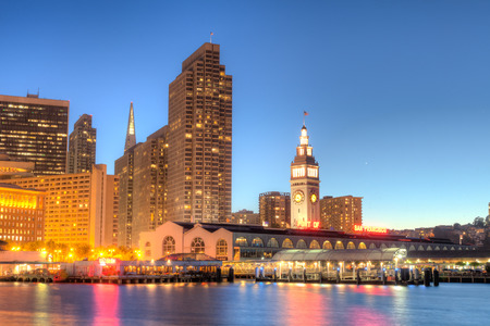 San Francisco Ferry building and eastern waterfront and roadway of the Port of San Francisco. photo