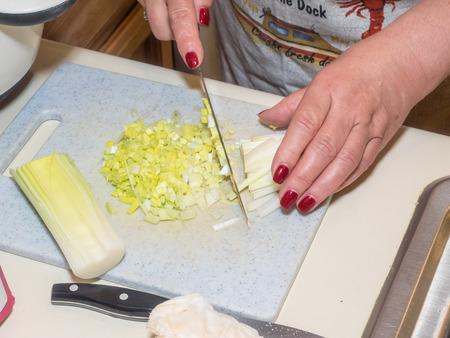 Dicing leek on small cutting board