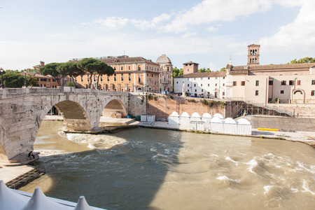 Pons Cestius  Italian  Ponte Cestio is a Roman stone bridge in Rome, Italy, spanning the Tiber to the west of the Tiber Island  Stock Photo