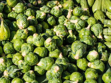 Pile of organic brussel sprouts for sale at local farmers market  Reklamní fotografie