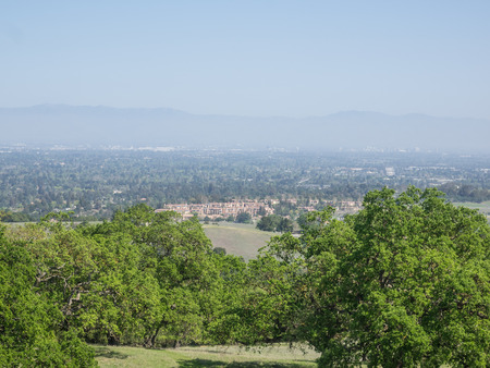 View of Silicon Valley from vista point at San Antonio Open Space Preserve.