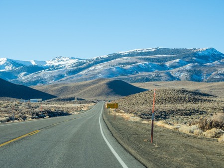 US 395 runs along the east side of the Sierra Nevada in the Owens Valley Stock Photo