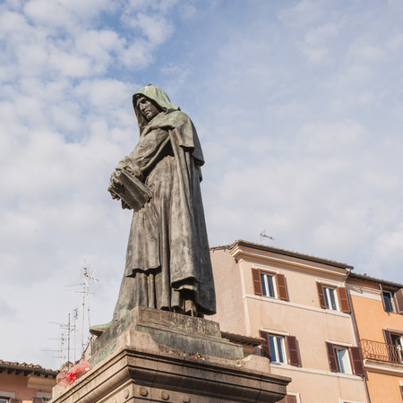 The monument to philosopher Giordano Bruno at the centre of the square