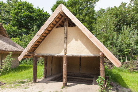 wielkopolska: Archaeological open air museum Biskupin is an archaeological site and a life-size model of an Iron Age fortified settlement in north-central (Wielkopolska) Poland (Kuyavian-Pomeranian Voivodeship). Stock Photo