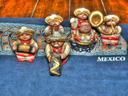 Cinco de Maya decorations on old wooden table. photo