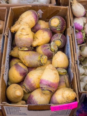Box of organic rutabaga for sale at local farmers market.