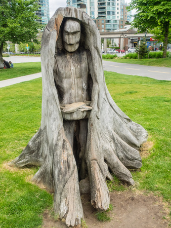 canadian pacific: Wood Carving at Telus Science World Park Editorial