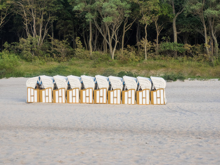 predominantly: Strandkorbs are predominantly used on the coasts of North Sea and Baltic Sea, as well as other coasts with strong winds Stock Photo