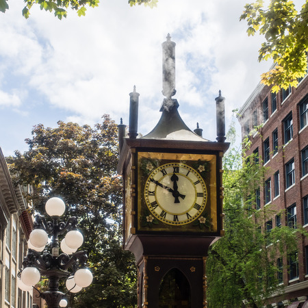 corner clock: Gastowns most famous landmark is the steam-powered clock on the corner of Cambie and Water Street.