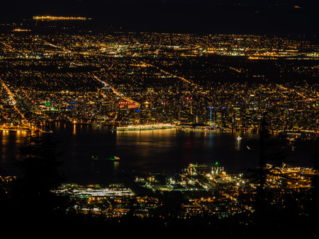 Vancouver night view from the top of Grouse Mountain Stock Photo