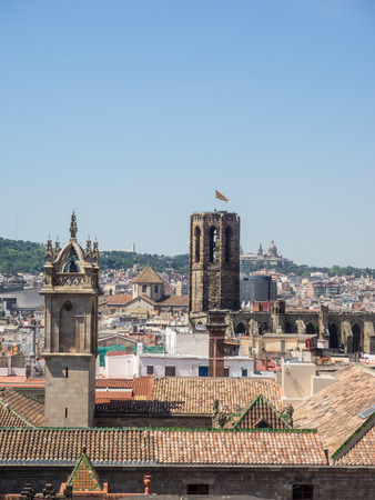 View of the city from rooftop of Barcelona Cathedral