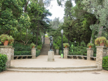 sculpted: Laribal Gardens are sculpted by terraces, pathways, small squares, ponds and lush, established plant life. Stock Photo