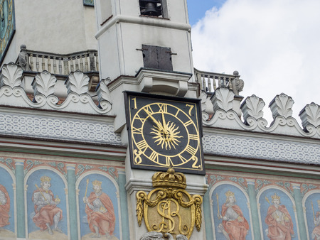 Poznan Town Hall clock just before noon.