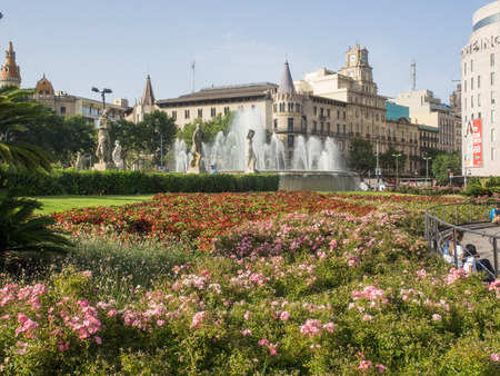 Plaza de Catalunya is a large square in central Barcelona