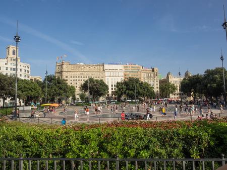 Plaça de Catalunya is a large square in central Barcelona