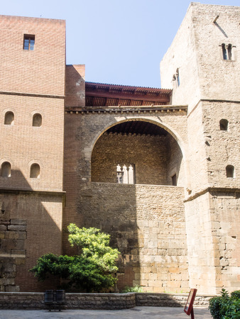 Remains of the squared Roman Wall in Barcelona Spain.