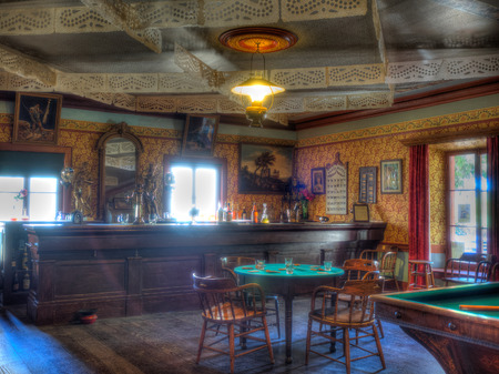 bar interior: Western saloon is a kind of bar particular to the Old West Editorial