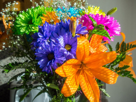 vividly: Bouquet of various vividly colorful flowers on a display
