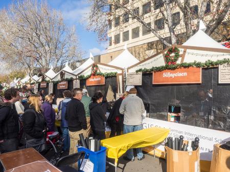 MOUNTAIN VIEW, CAUSA - DECEMBER 13: German Holiday Market in Downtown Mountain View on December 13, 2014. Editorial