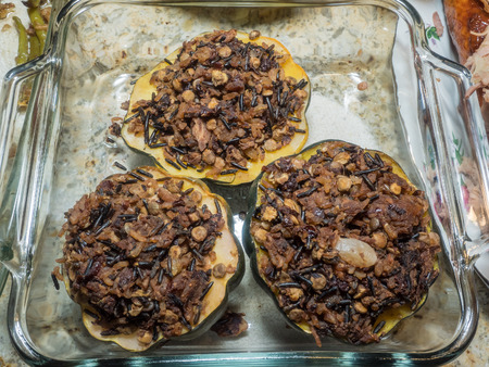 stuffing: Roasted acorn squash with wild rice stuffing.