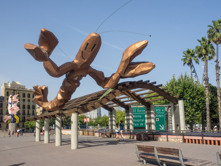 colom: Gambrinus – The Funky lobster statue on Passeig Colom Stock Photo