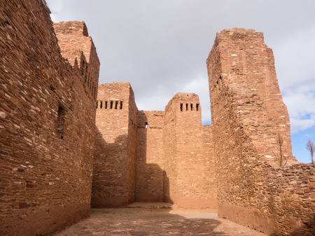 nm: Quarai Mission ruins are located in Salinas Pueblo Missions National Monument near Mountainair, NM. Stock Photo