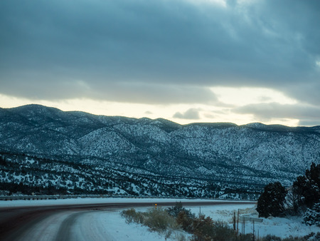 After sunset on New Mexico State Road 68 in December. Stock Photo
