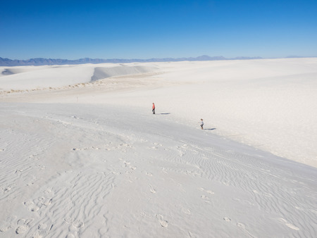 white sands national monument: Mother and daughter at White Sands National Monument field of white sand dunes