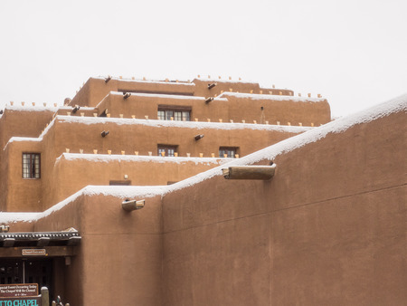 Inn and Spa at Loretto is a resort with pueblo-inspired architecture in Santa Fe, NM. Stock Photo