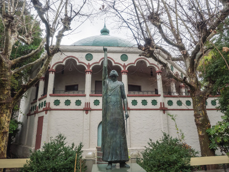Statue of Pythagoras of Samos in Rosicrucian Park in San Jose, California. Archivio Fotografico