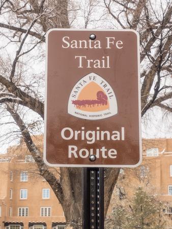 fe: Old Santa Fe Trail original route sign in downtown Santa Fe, NM.