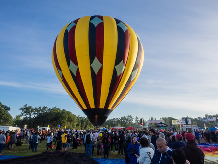 WINDSOR, CAUSA - June 20, 2015: 25th Annual Sonoma County Hot Air Balloon Classic is a yearly event where you can experience balloons up close, watch them launch, and even take tethered rides.