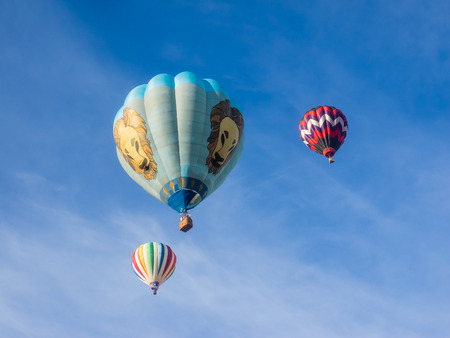 tethered: WINDSOR, CAUSA - June 20, 2015: 25th Annual Sonoma County Hot Air Balloon Classic is a yearly event where you can experience balloons up close, watch them launch, and even take tethered rides.