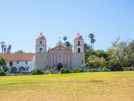 missionary: Mission Santa Barbara is a Spanish mission founded by the Franciscan order near present-day Santa Barbara, California. Stock Photo