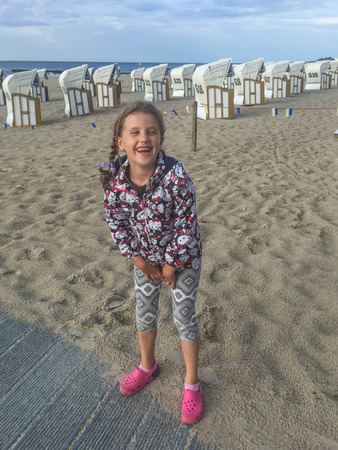 Enjoying summer day on the beach in Kolobrzeg. Stock fotó