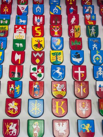 escutcheon: Coat of arms is a unique heraldic design on an escutcheon (i.e. shield), surcoat, or tabard. Stock Photo