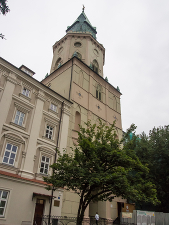 neogothic: Neo-gothic Trinitarian Tower (bell tower) in the Jesuit monastery complex in Lublin, Poland
