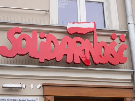 solidaridad: Logotipo de Solidaridad en la sede de la Unión de Lublin, Polonia.