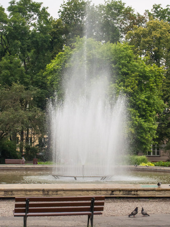 polish lithuanian: Stone fountain on the Lithuanian Square in Lublin, Poland