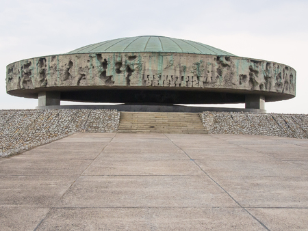 extermination: Majdanek Mausoleum erected in 1969 at Nazi German concentration and extermination camp contains ashes and remains of cremated victims.