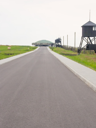 cremated: Majdanek Mausoleum erected in 1969 at Nazi German concentration and extermination camp contains ashes and remains of cremated victims.