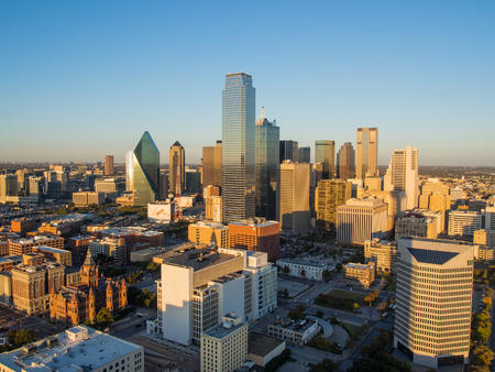 observation: View of Dallas downtown from observation deck on Reunion tower