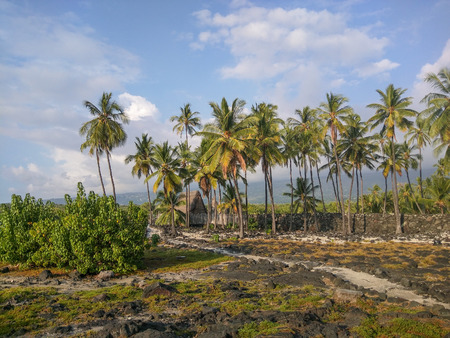 national historic site: Puuhonua o Honaunau National Historical Park preserves the site where, up until the early 19th century, Hawaiians who broke a kapu (one of the ancient laws) could avoid certain death by fleeing to this place of refuge. Stock Photo