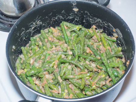 french bean: Green bean casserole is a casserole consisting of green beans, cream of mushroom soup, and french fried onions. It is a popular Thanksgiving side dish in the United States.