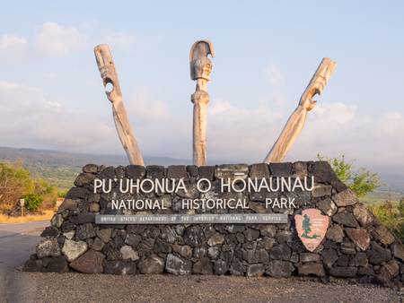 fleeing: Puuhonua o Honaunau National Historical Park preserves the site where, up until the early 19th century, Hawaiians who broke a kapu (one of the ancient laws) could avoid certain death by fleeing to this place of refuge. Editorial