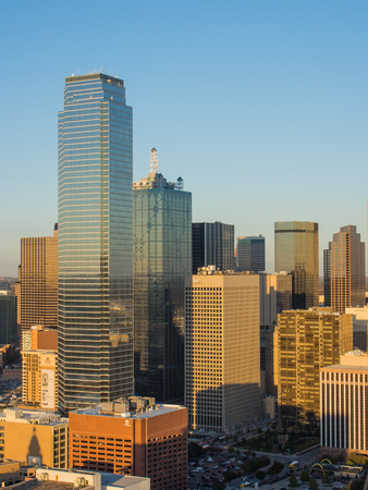 dallas: View of Dallas downtown from observation deck on Reunion tower