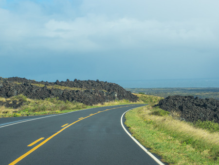 craters: Chain of Craters Road is a 19-mile winding paved road through the East Rift and coastal area of the Hawaii Volcanoes National Park on the island of Hawaii. Stock Photo
