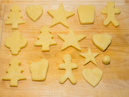 shortbread: Making shortbread cookies at home before Christmas.